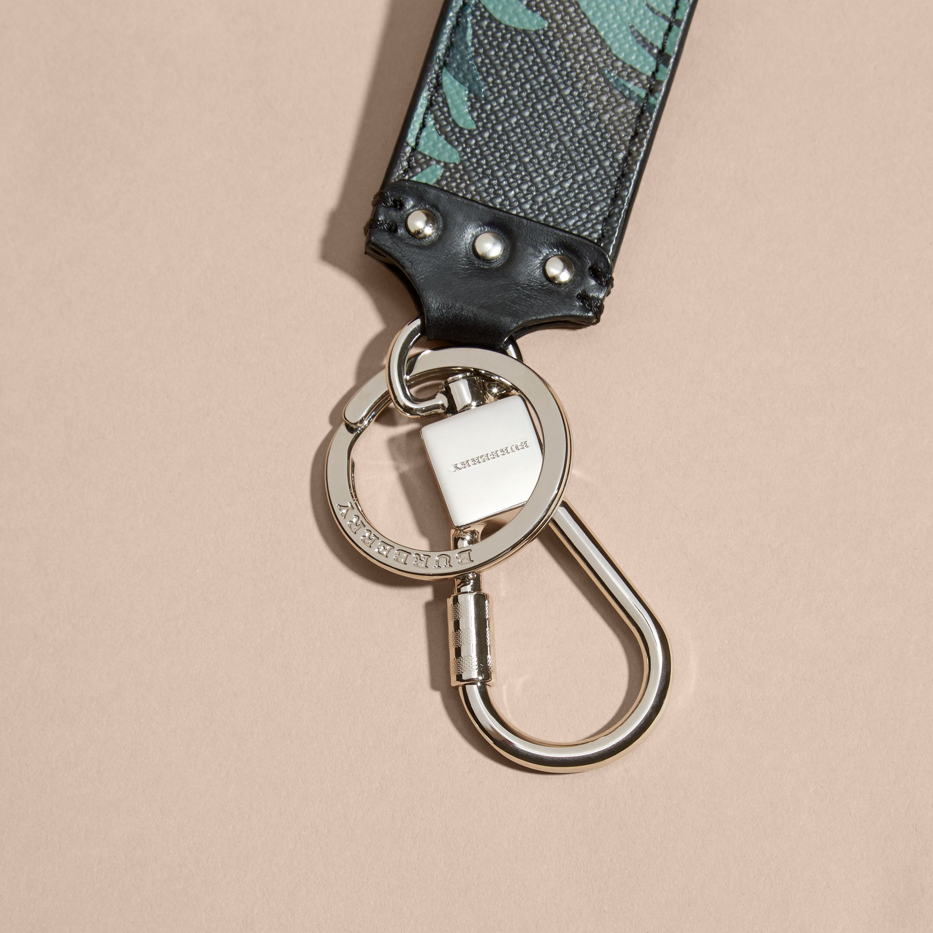 Floral Print London Check Key Ring - gallery image 2