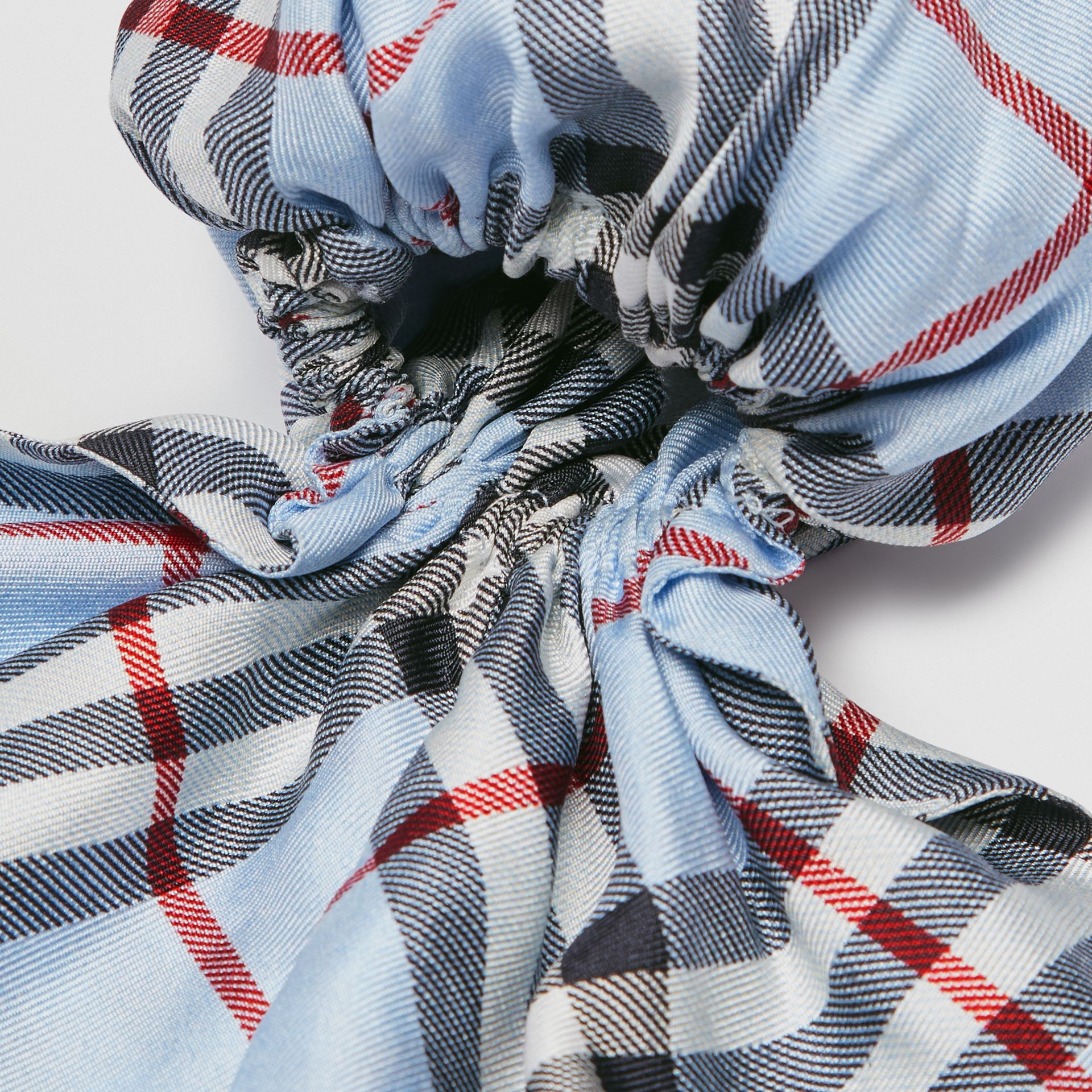 Vintage Check Print Silk Hair Scarf in Pale Blue - Women | Burberry Australia - gallery image 1