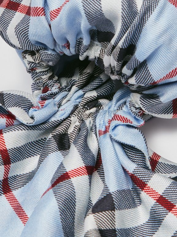 Vintage Check Print Silk Hair Scarf in Pale Blue - Women | Burberry - cell image 1