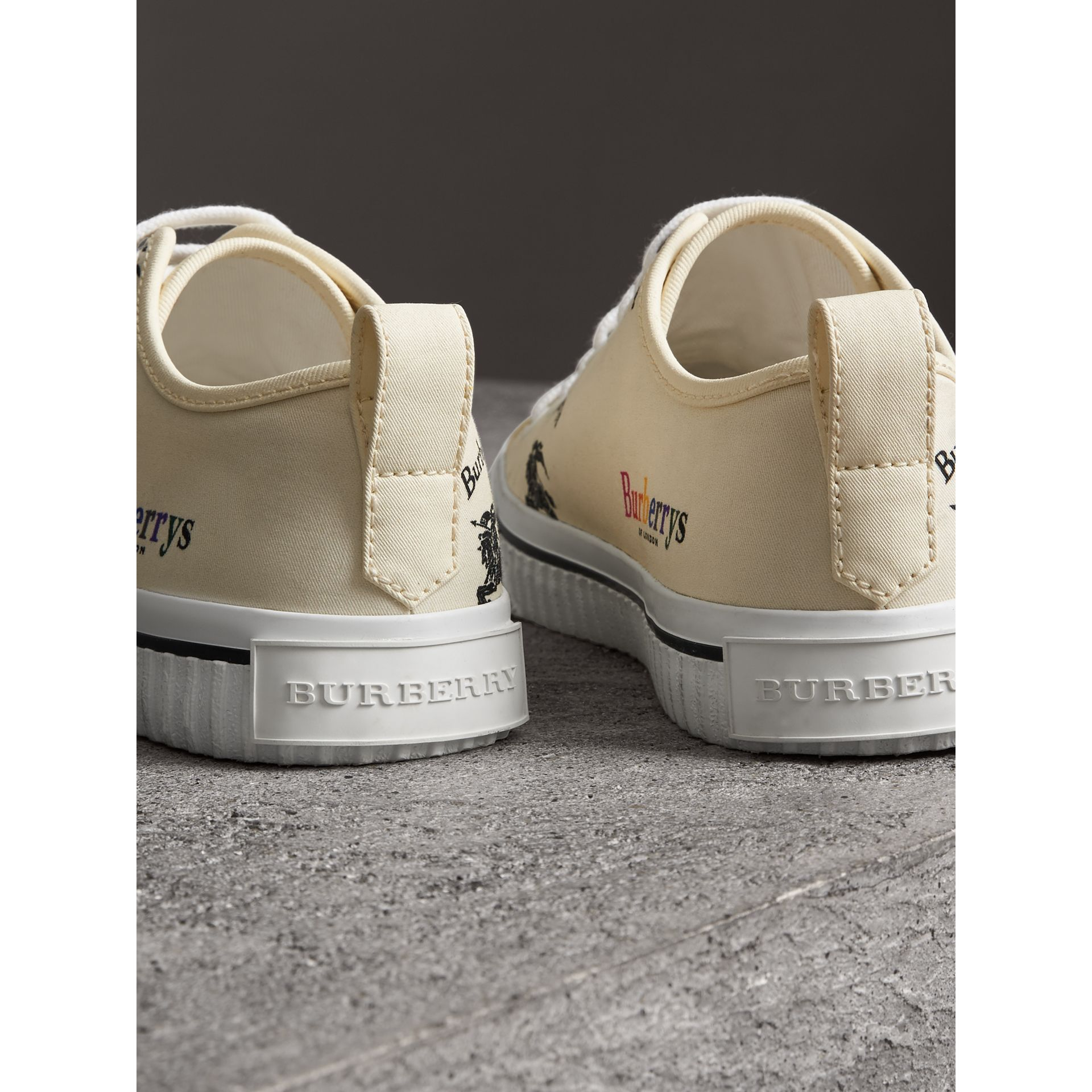 Archive Logo Cotton Sneakers in Off White - Women | Burberry Singapore - gallery image 3