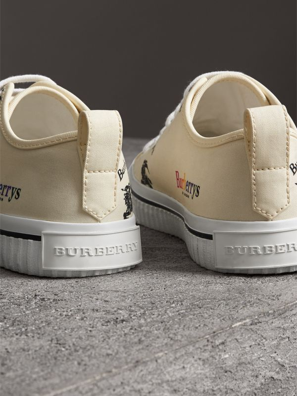 Archive Logo Cotton Sneakers in Off White - Women | Burberry Singapore - cell image 3