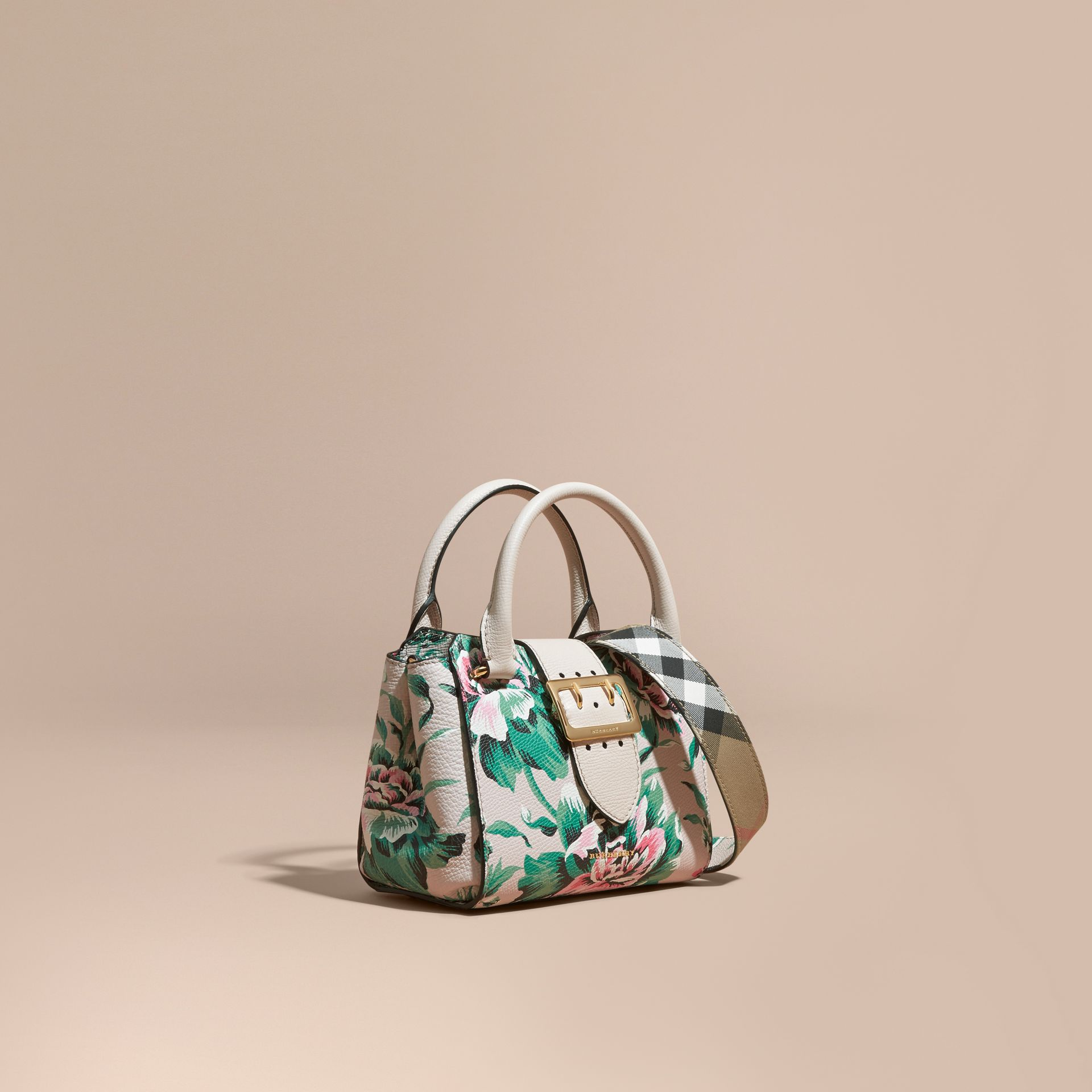 The Small Buckle Tote in Peony Rose Print Leather in Natural/emerald Green - gallery image 1