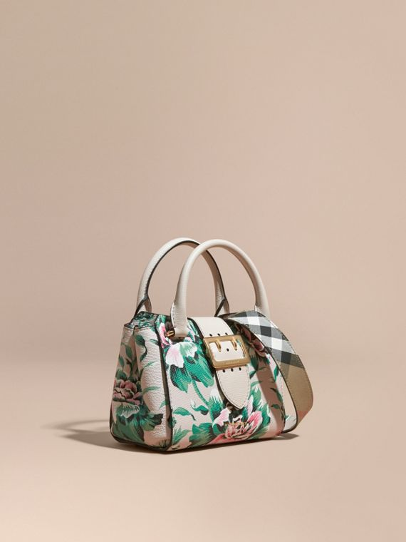 The Small Buckle Tote in Peony Rose Print Leather Natural/emerald Green