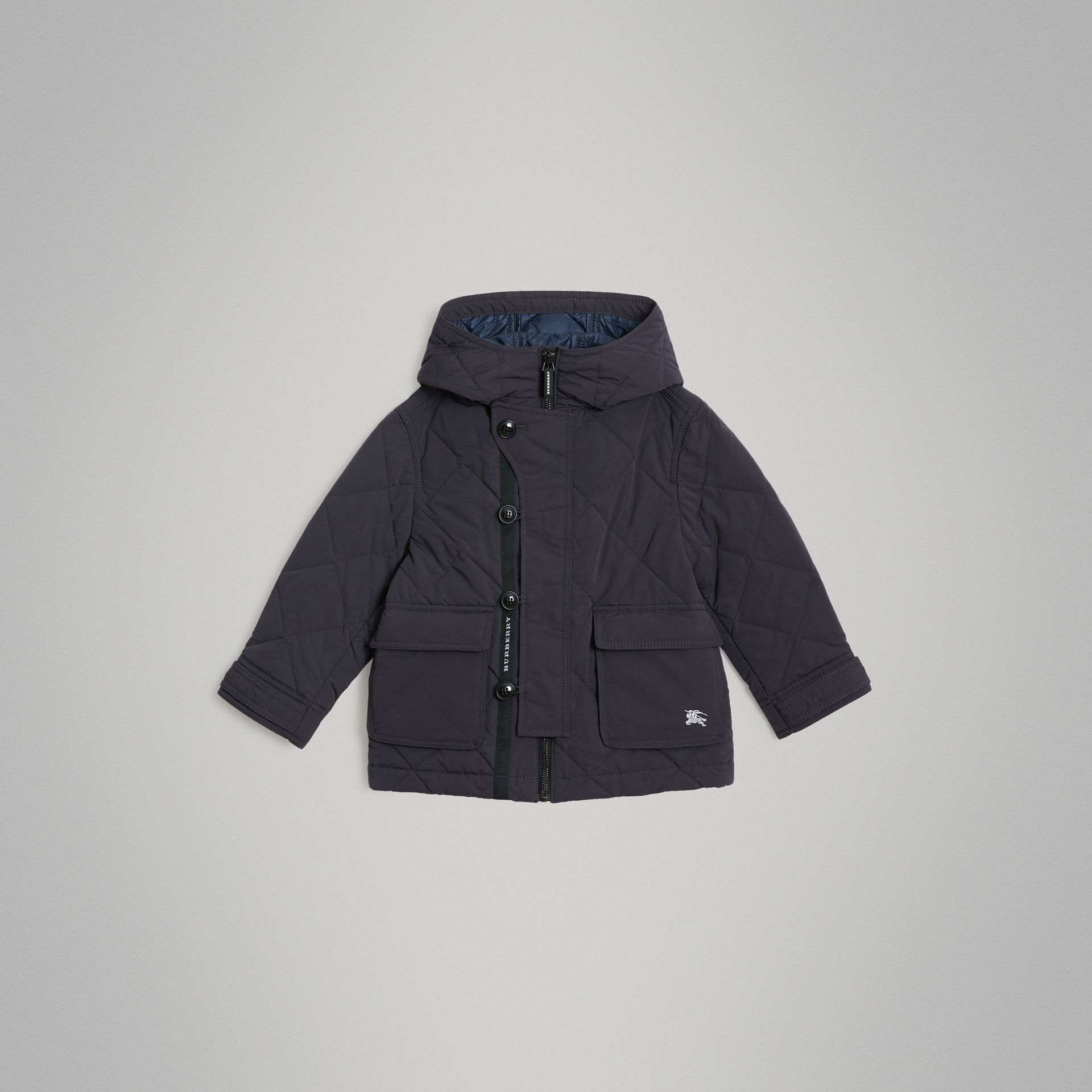 Diamond Quilted Hooded Jacket in Navy | Burberry Canada - gallery image 0