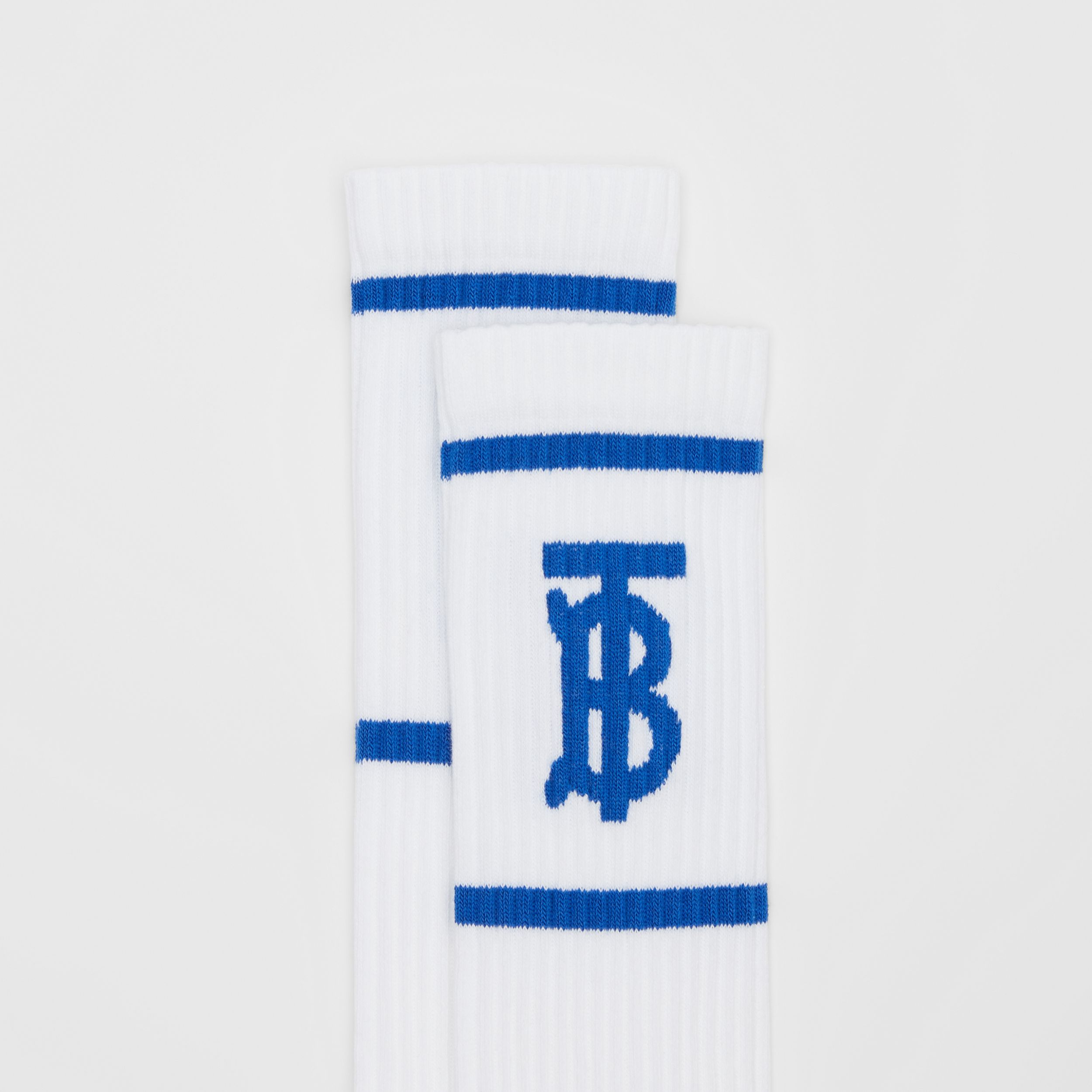 Monogram Motif Intarsia Socks in White/blue | Burberry - 2