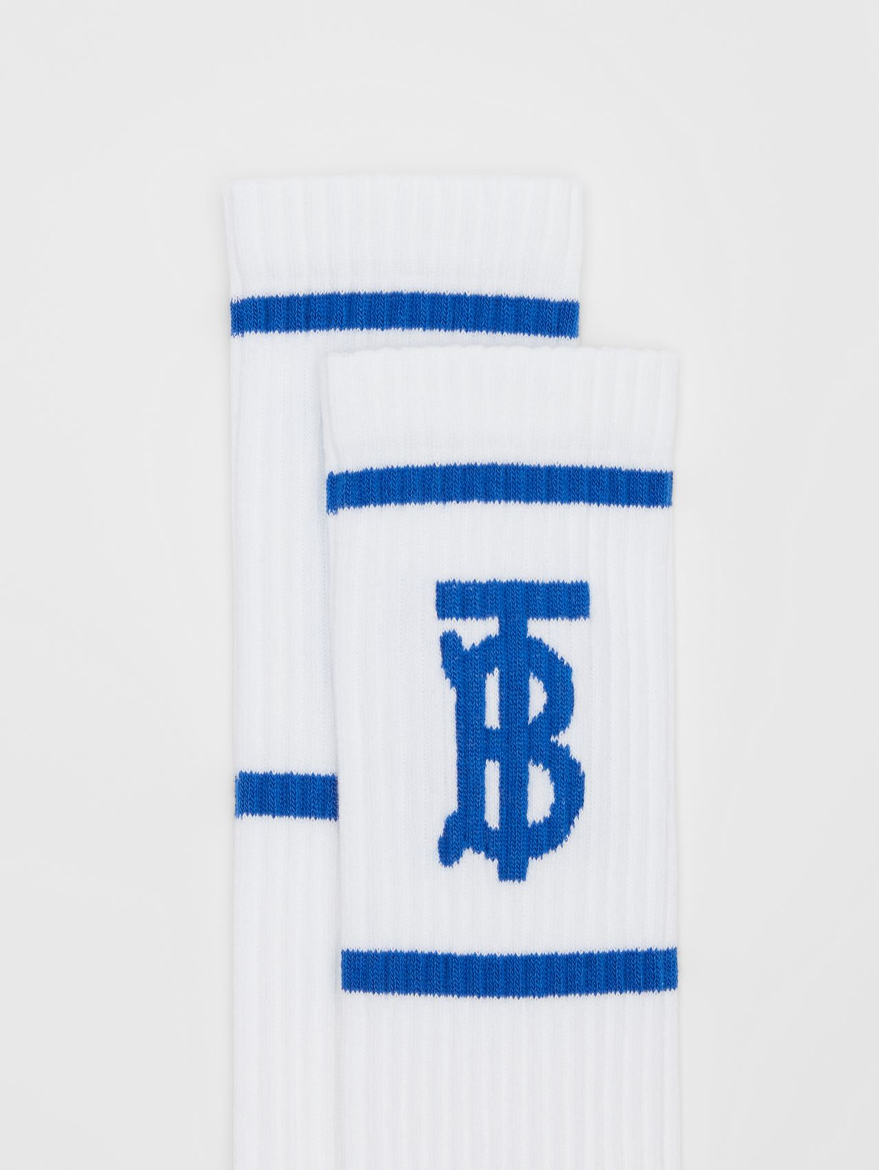 Monogram Motif Intarsia Socks in White/blue