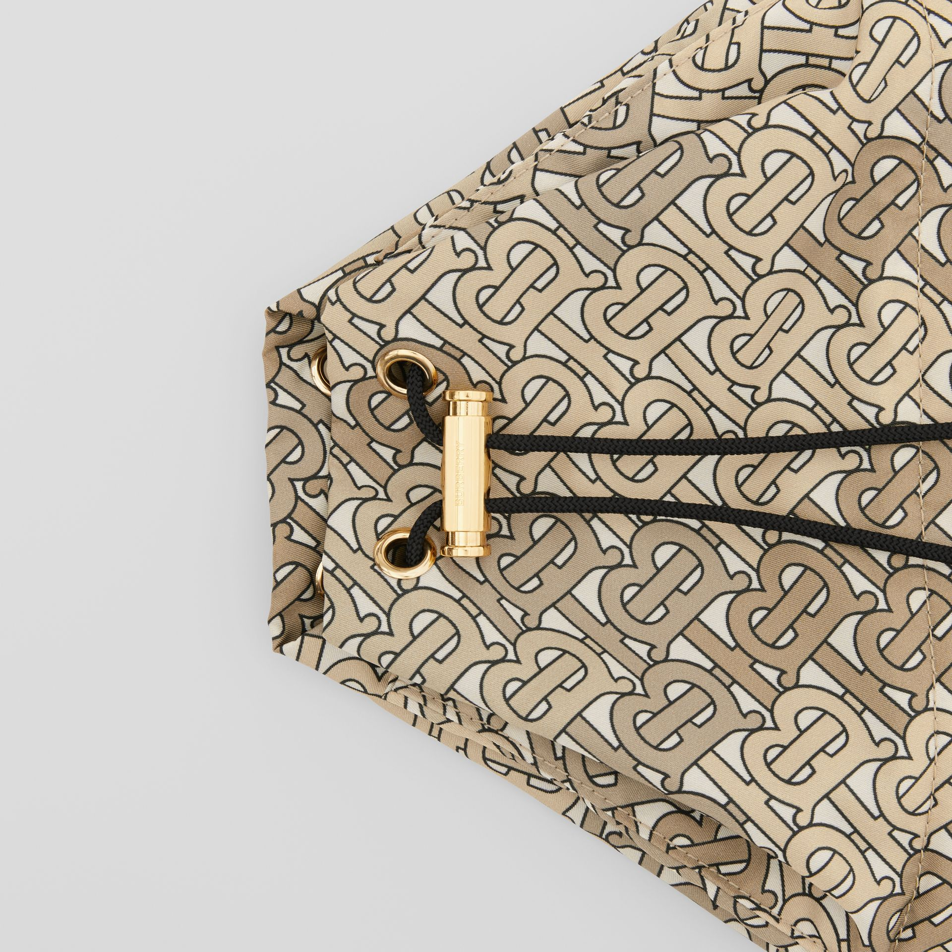 Monogram Print Nylon Drawcord Pouch in Beige - Women | Burberry - gallery image 1