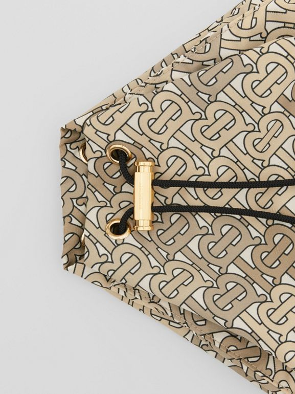 Monogram Print Nylon Drawcord Pouch in Beige - Women | Burberry Singapore - cell image 1