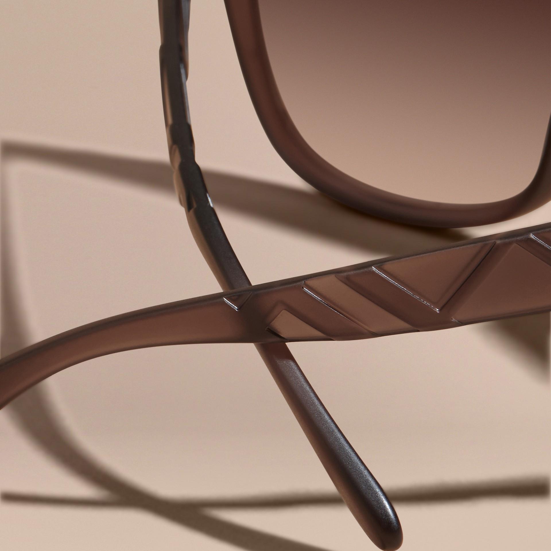 Black 3D Check Square Frame Polarised Sunglasses - gallery image 4