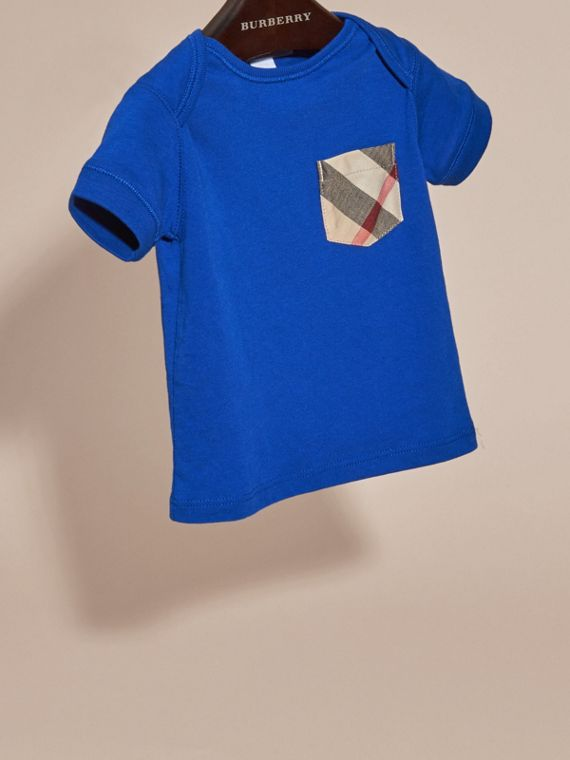 Check Pocket T-Shirt in Brilliant Blue | Burberry - cell image 2