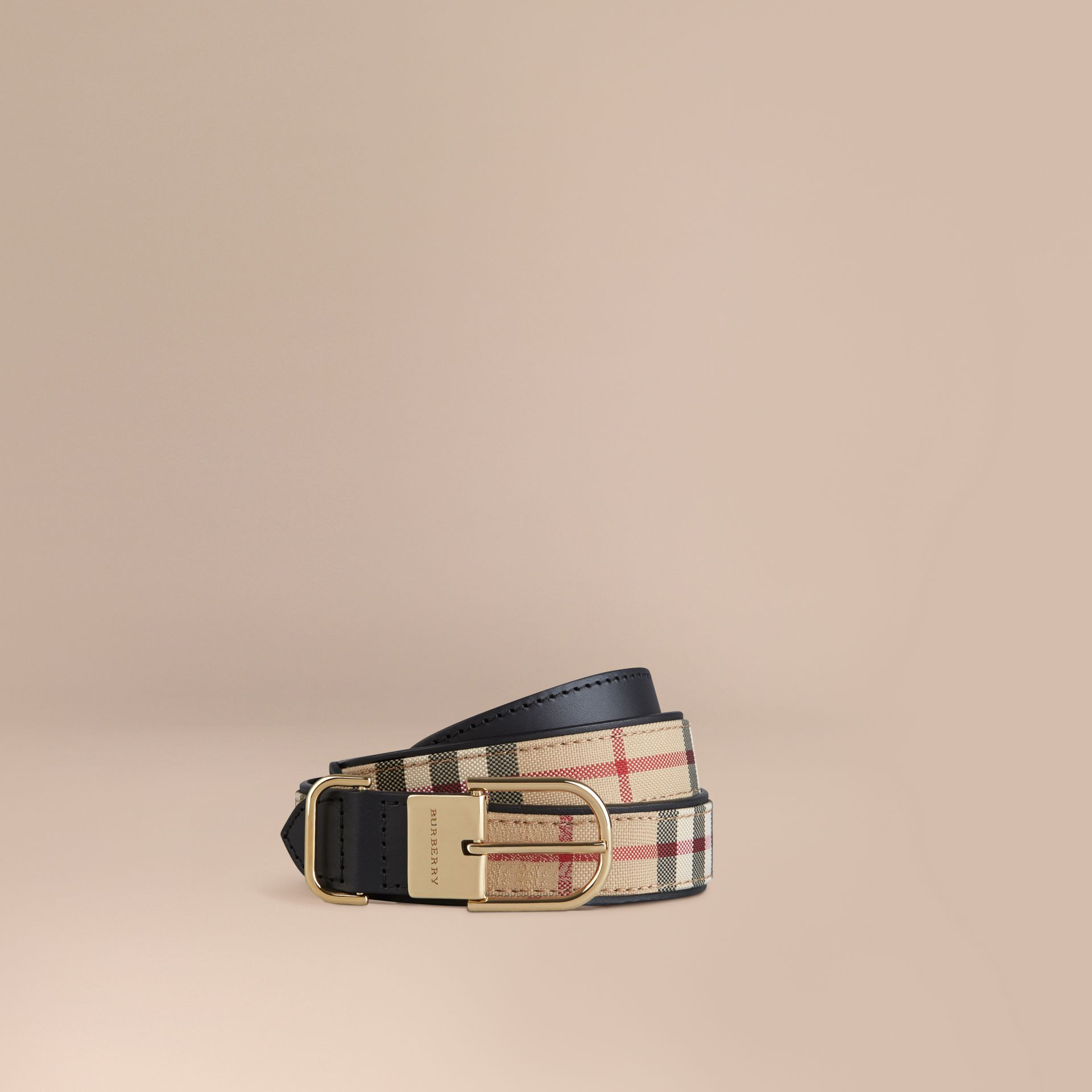 Horseferry Check and Leather Belt in Honey/black - Women | Burberry - gallery image 1