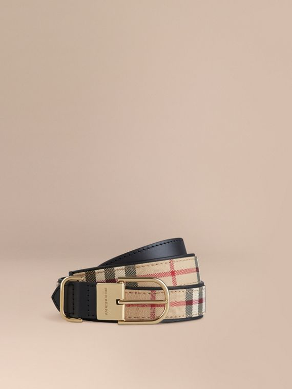 Horseferry Check and Leather Belt in Honey/black - Women | Burberry