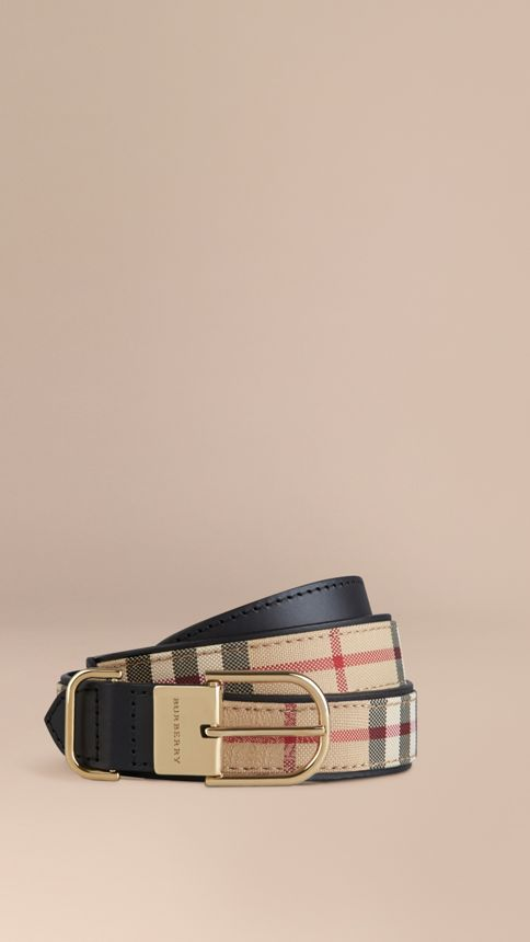 Honey/black Horseferry Check and Leather Belt Honey/black - Image 1