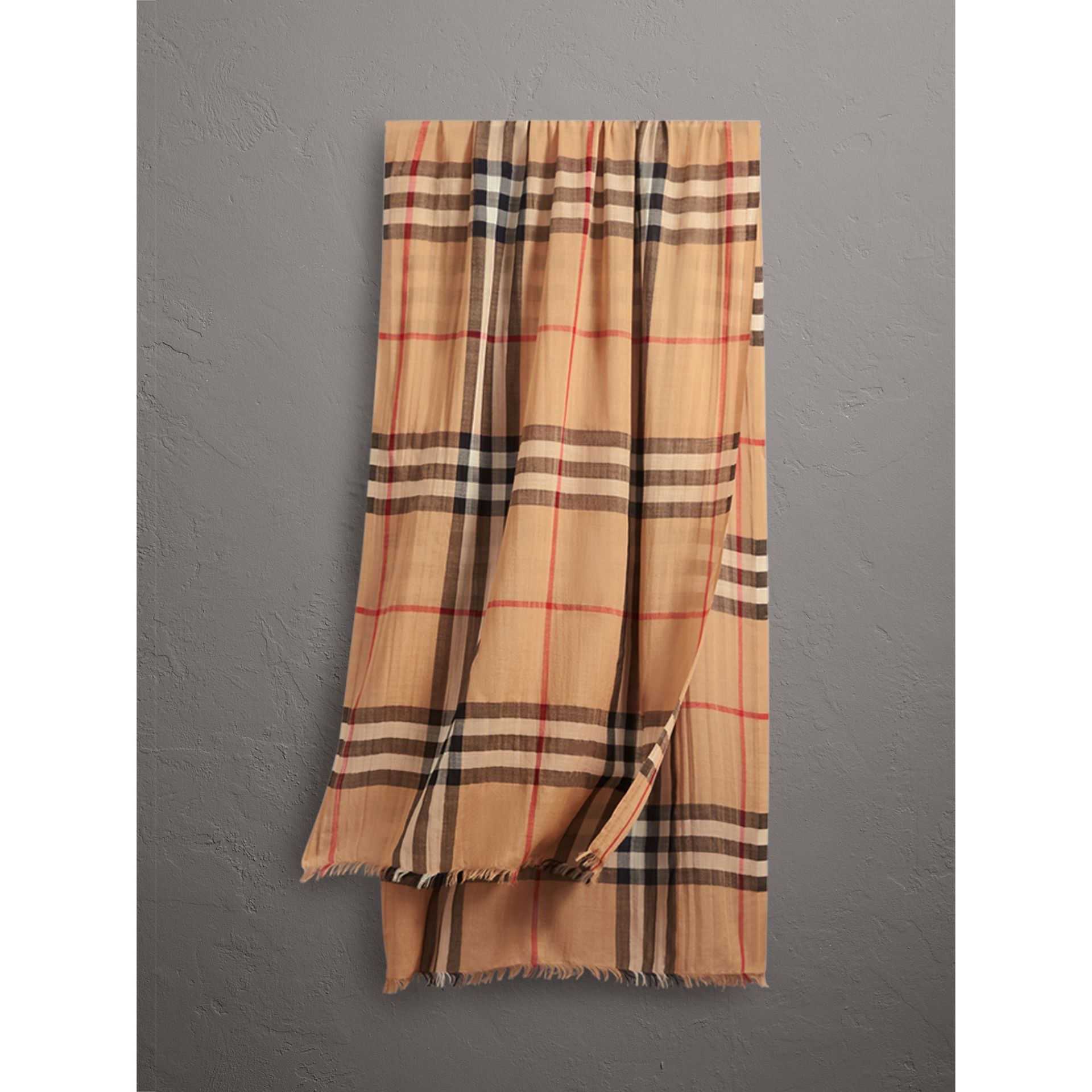 Lightweight Check Wool and Silk Scarf in Camel | Burberry Singapore - gallery image 1