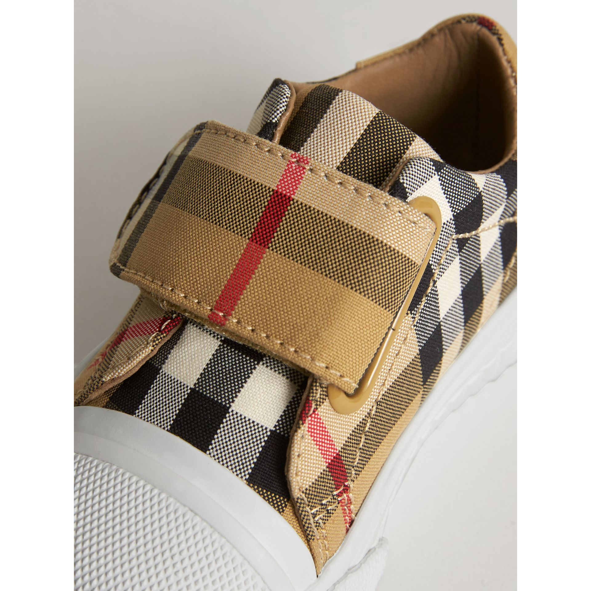 Vintage Check and Leather Sneakers in Antique Yellow/optic White - Children | Burberry - gallery image 1