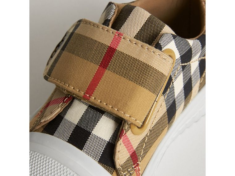 Vintage Check and Leather Sneakers in Antique Yellow/optic White | Burberry United Kingdom - cell image 1