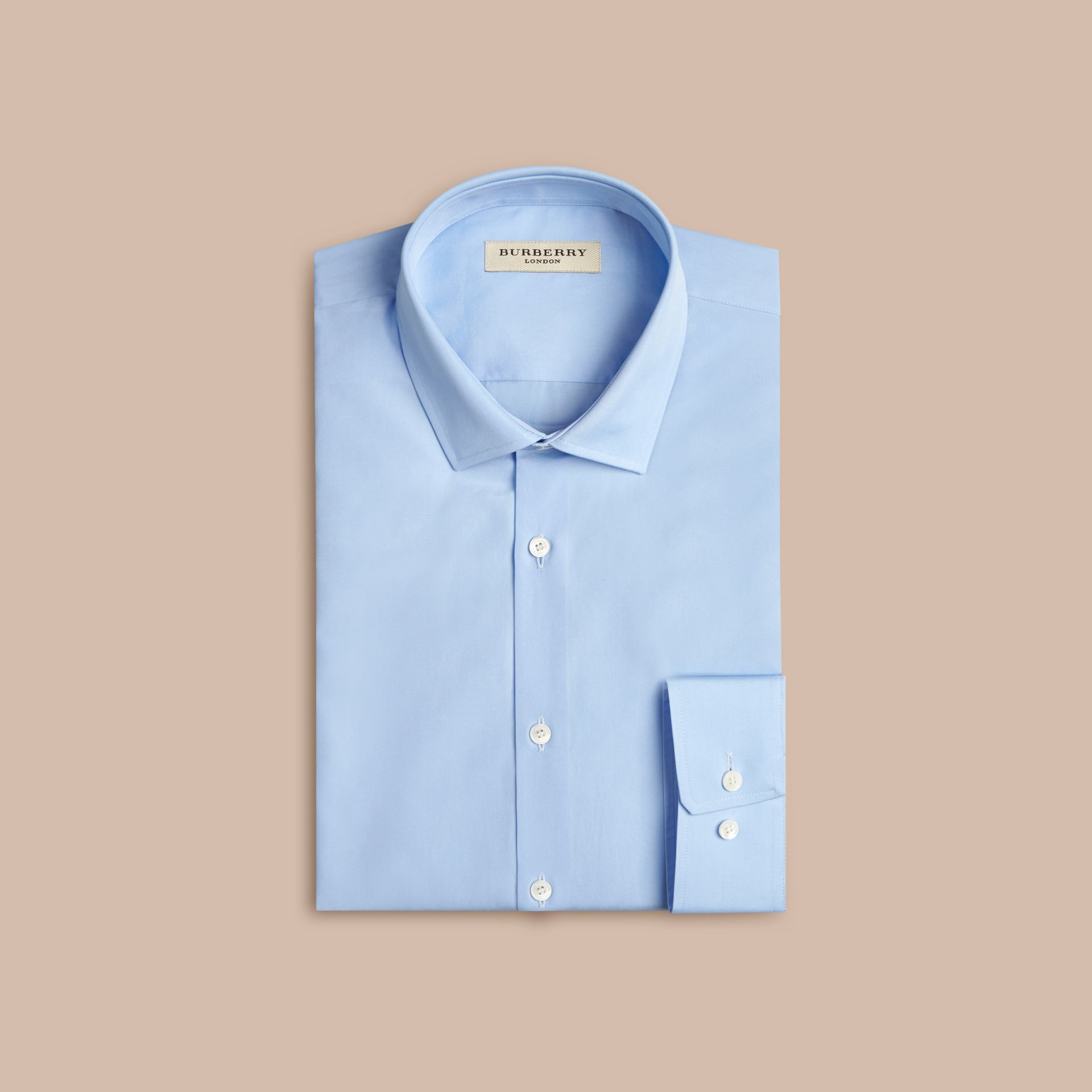 Modern Fit Cotton Poplin Shirt in City Blue - Men | Burberry - gallery image 6