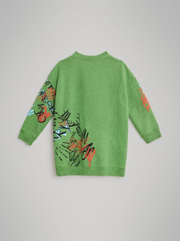 Graffiti Scribble Check Print Cotton Dress in Lime Green - Children | Burberry United States - cell image 3
