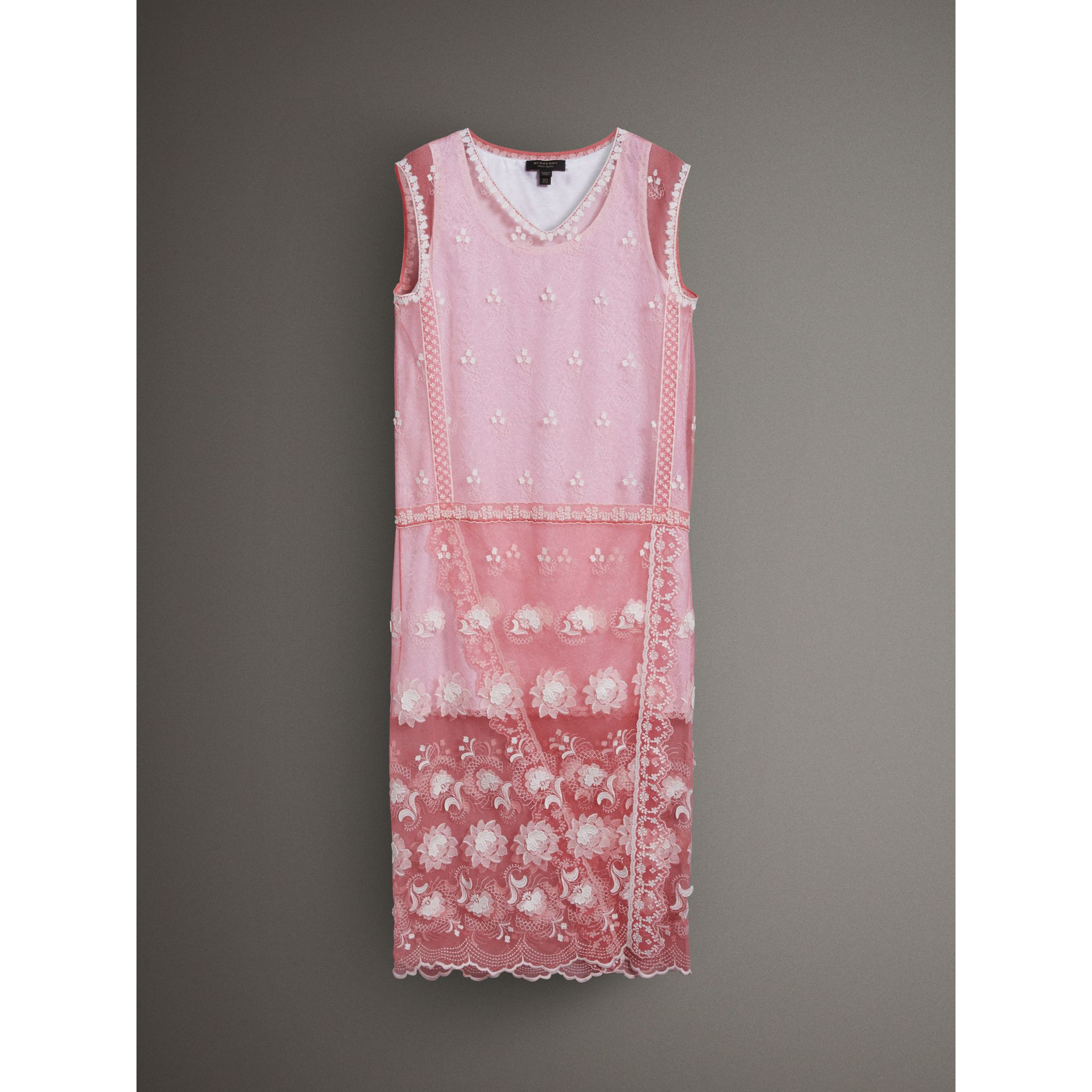 Sleeveless Chantilly Lace Embroidered Tulle Dress in Rose Pink/white - Women | Burberry Singapore - gallery image 3