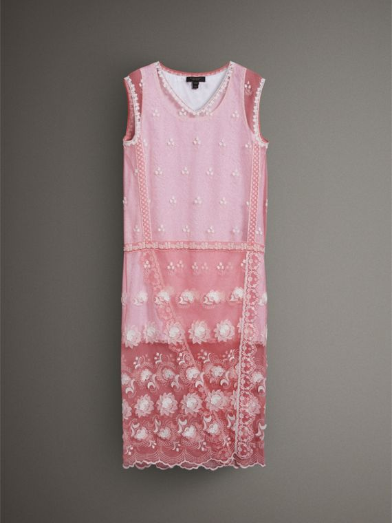 Sleeveless Chantilly Lace Embroidered Tulle Dress in Rose Pink/white - Women | Burberry - cell image 3