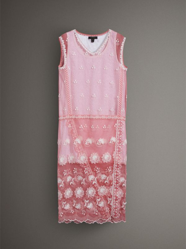 Sleeveless Chantilly Lace Embroidered Tulle Dress in Rose Pink/white - Women | Burberry United Kingdom - cell image 3