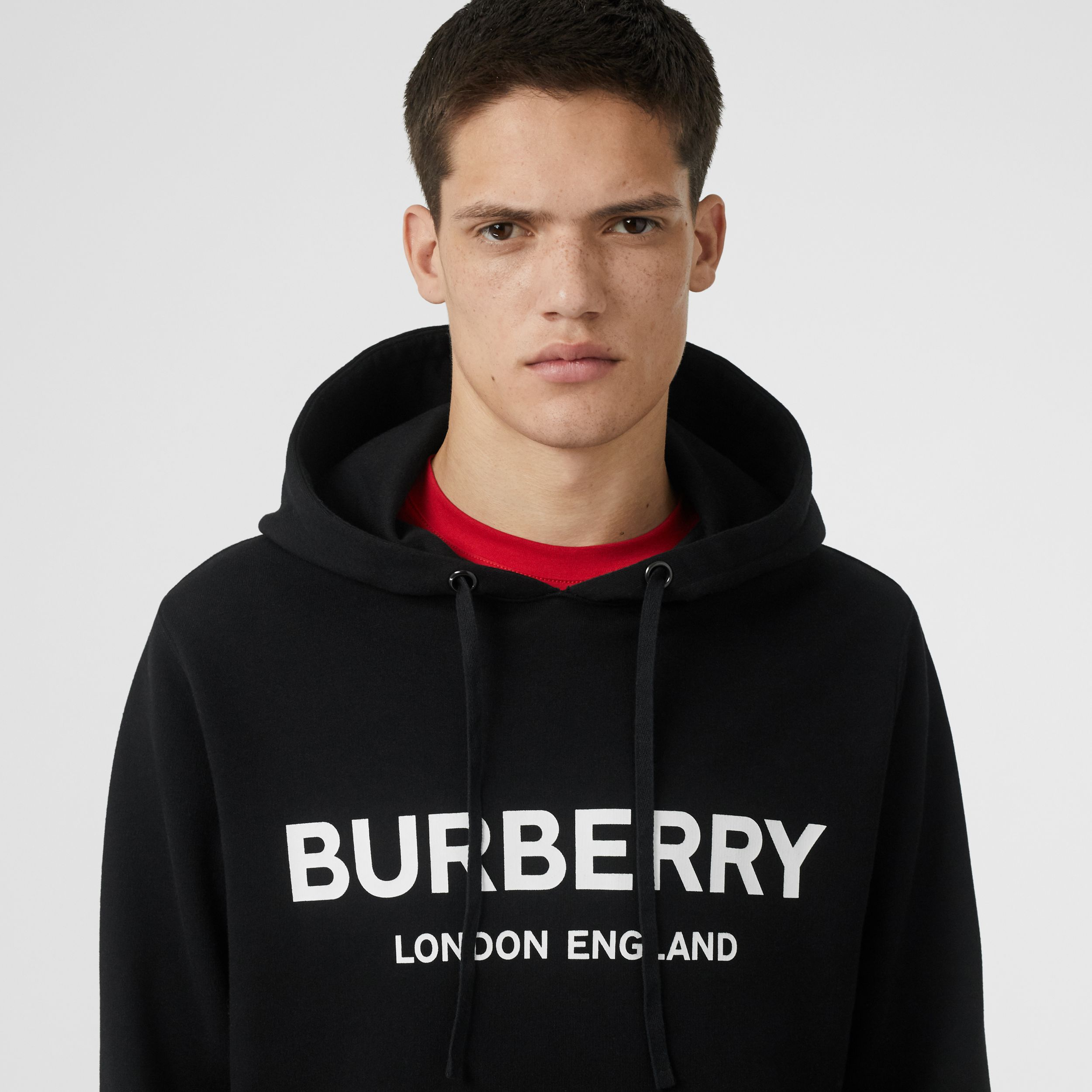 Logo Print Cotton Hoodie in Black - Men | Burberry - 2