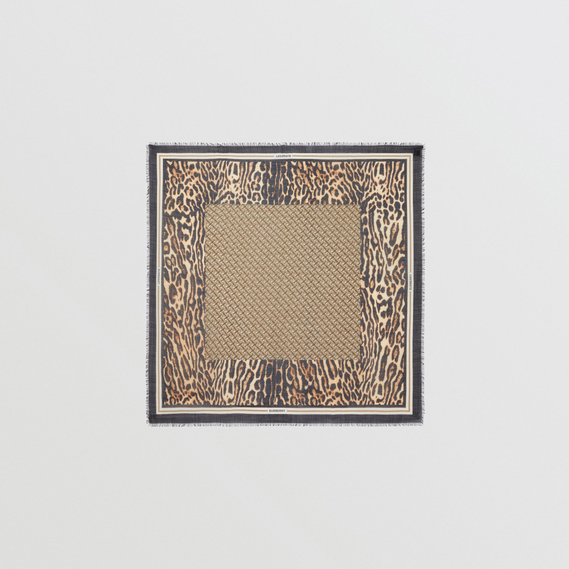 Monogram Print Wool Silk Large Square Scarf in Archive Beige | Burberry United States - gallery image 0