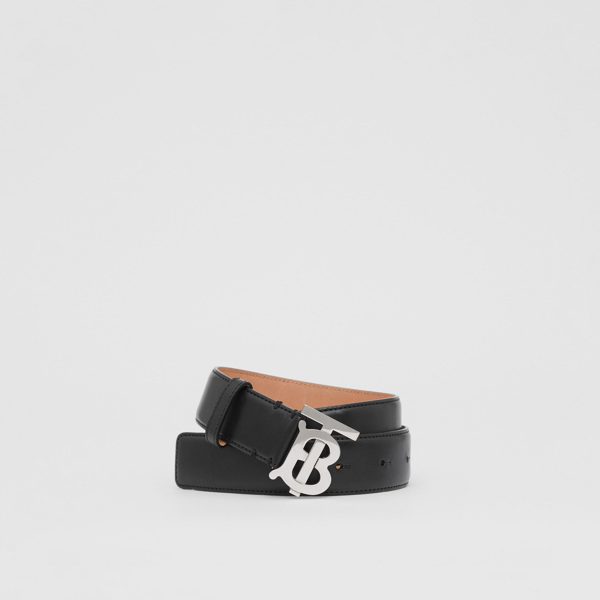 Monogram Motif Leather Belt in Black/palladio - Women | Burberry - gallery image 0