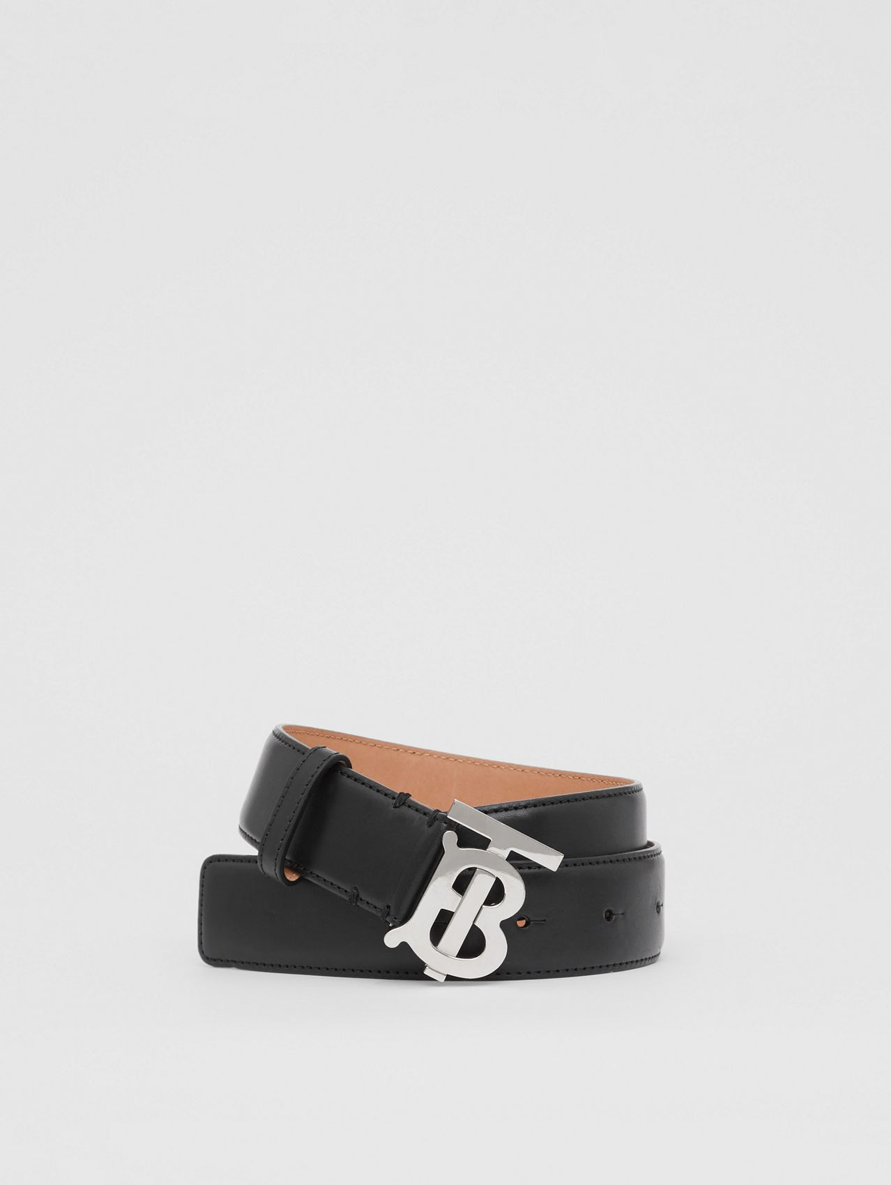 Monogram Motif Leather Belt in Black/palladio