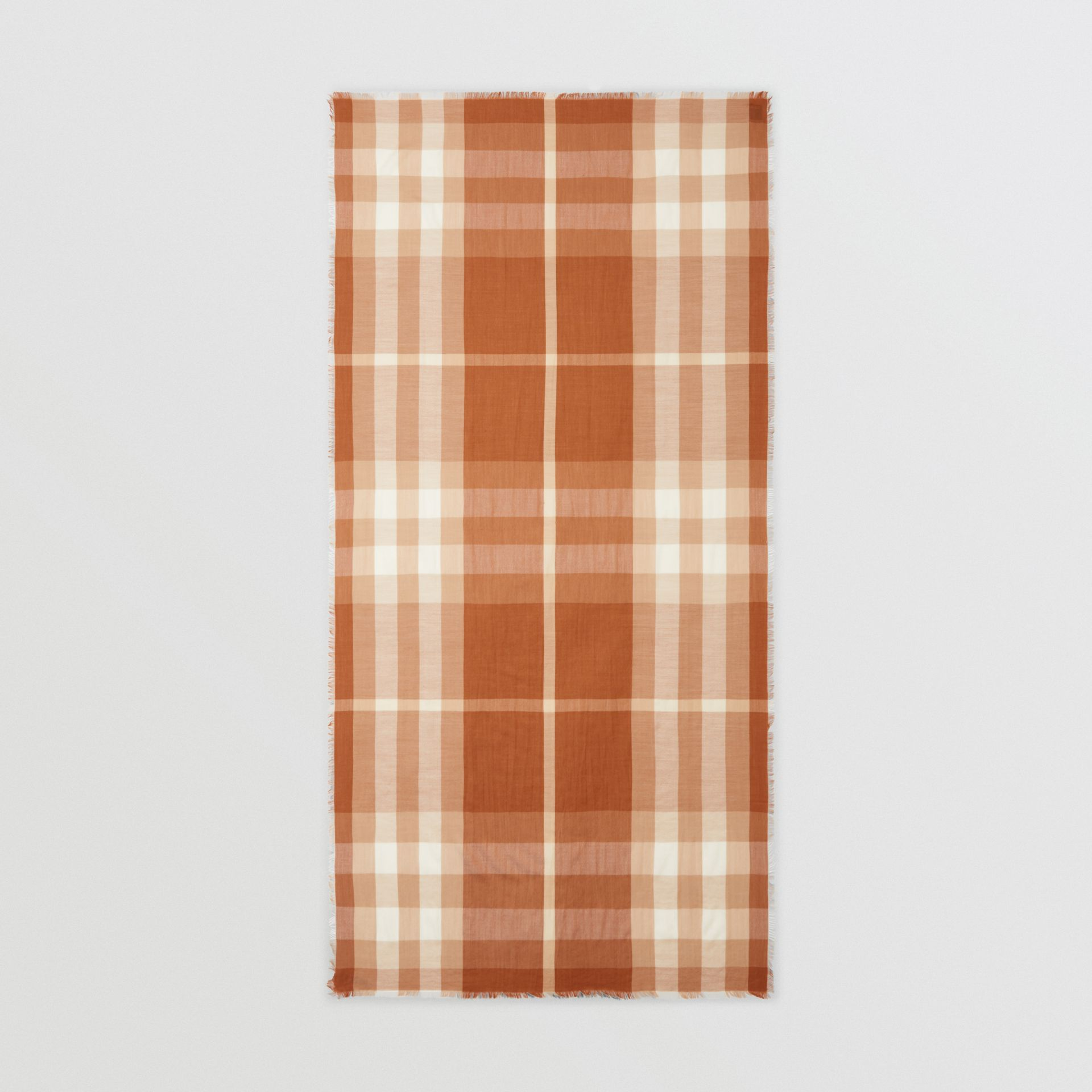 Lightweight Check Cashmere Scarf in Dark Camel | Burberry - gallery image 4