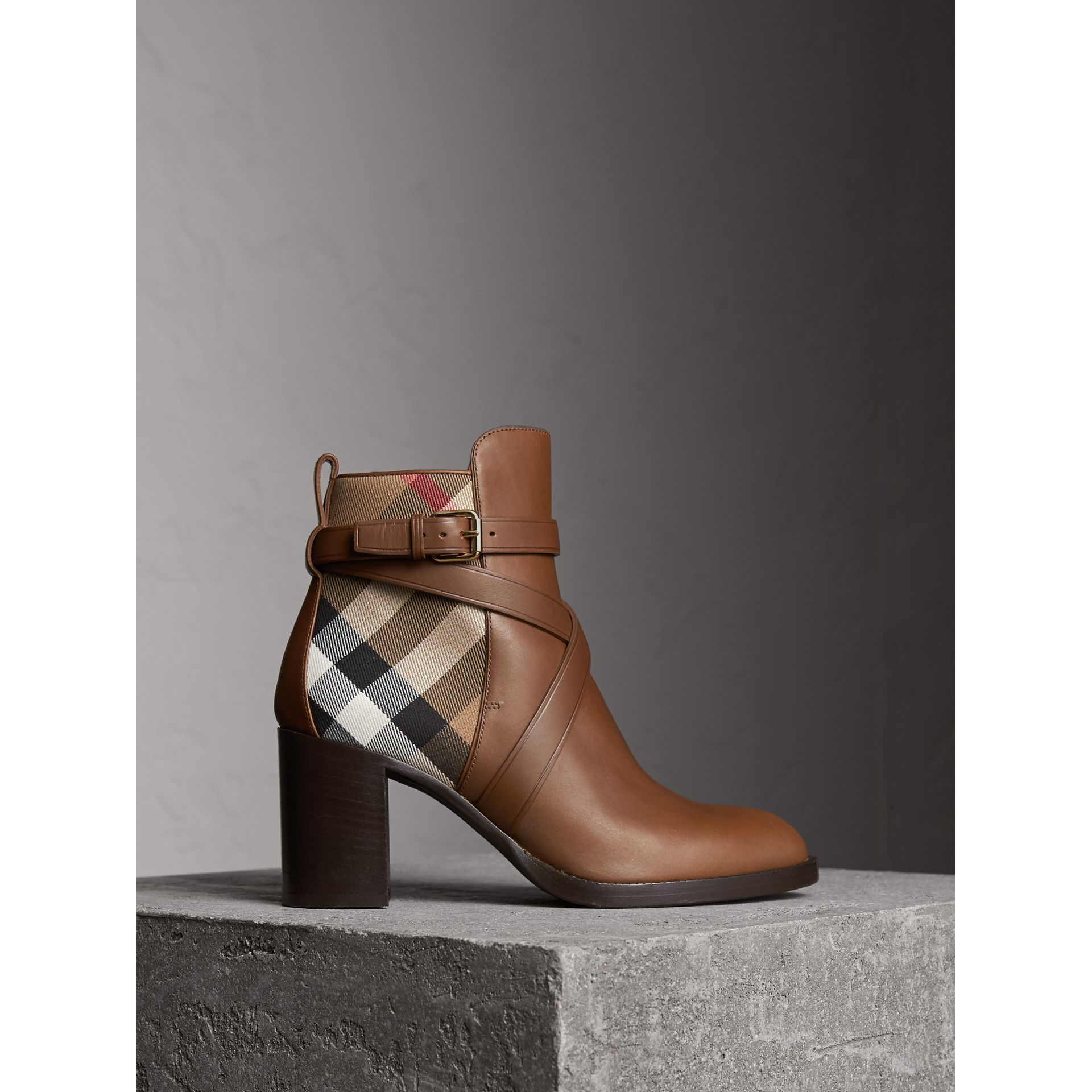 House Check and Leather Ankle Boots in Bright Camel - Women | Burberry United States - gallery image 0