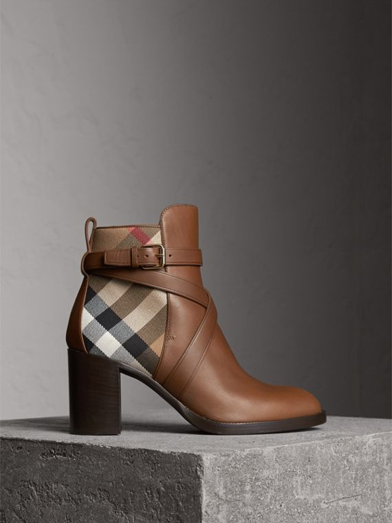 House Check and Leather Ankle Boots in Bright Camel