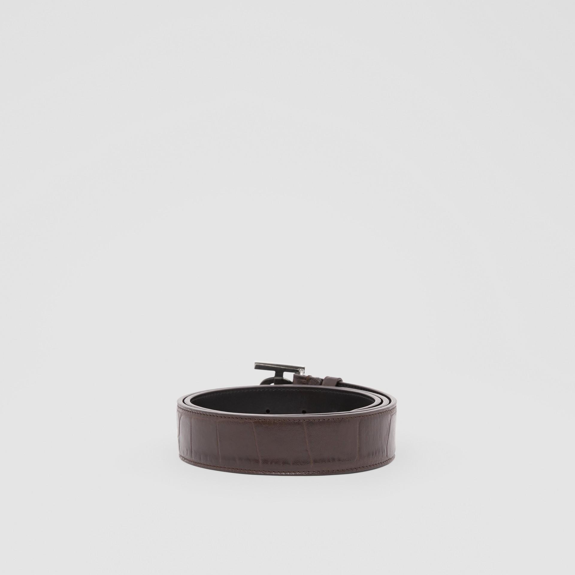 Monogram Motif Embossed Leather Belt in Brown - Men | Burberry United Kingdom - gallery image 4