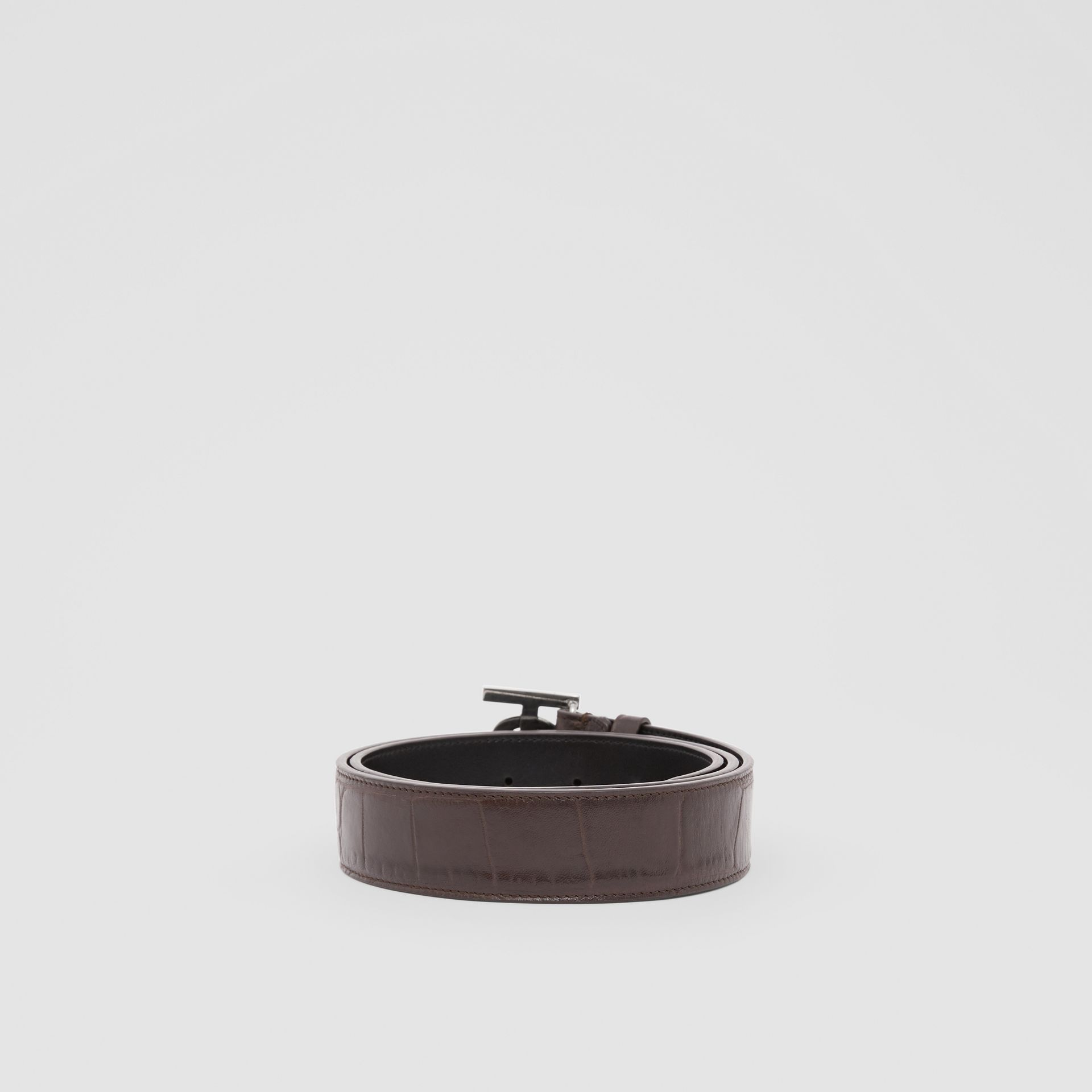 Monogram Motif Embossed Leather Belt in Brown - Men | Burberry - gallery image 4
