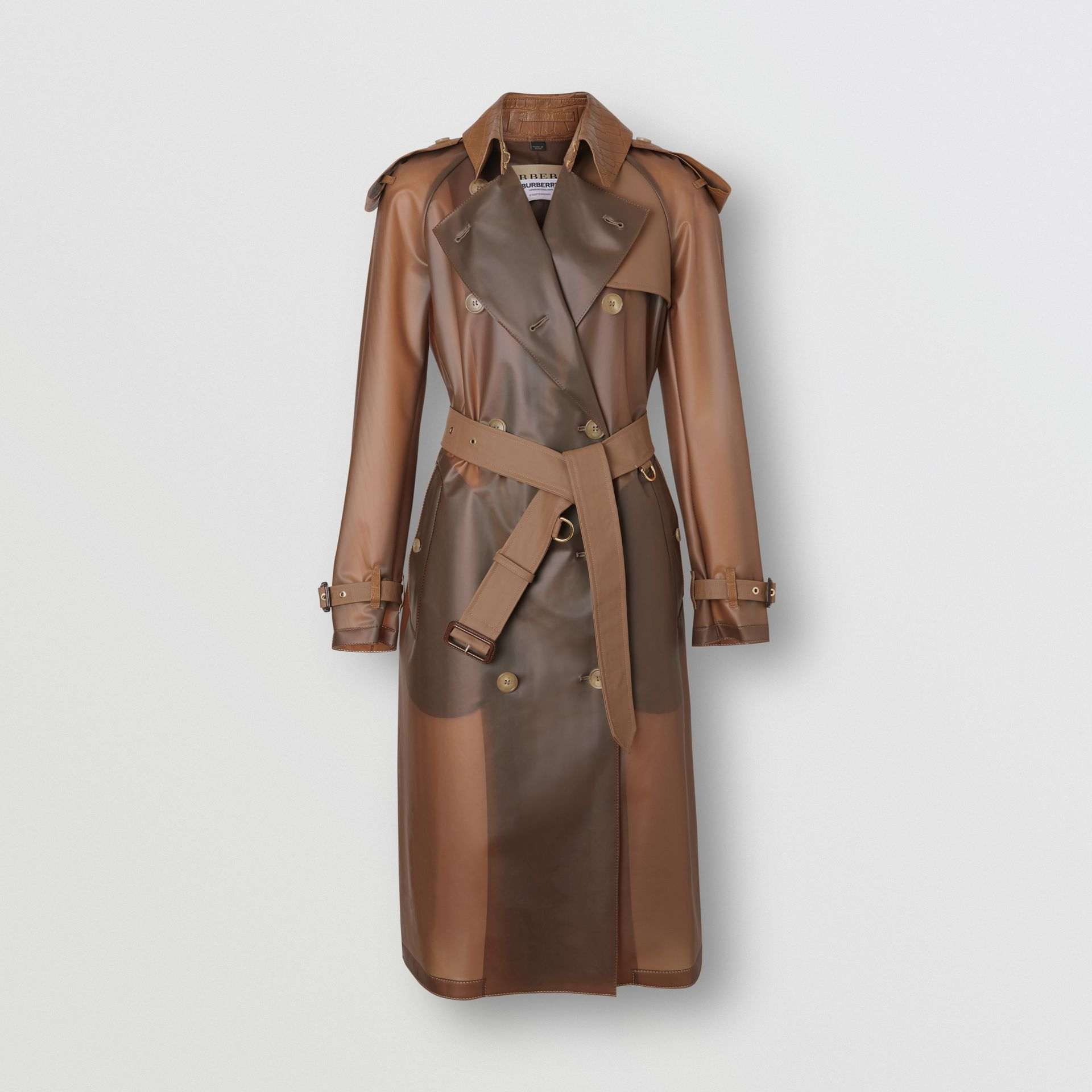 Leather Detail Showerproof Trench Coat in Flaxseed - Women | Burberry - gallery image 3
