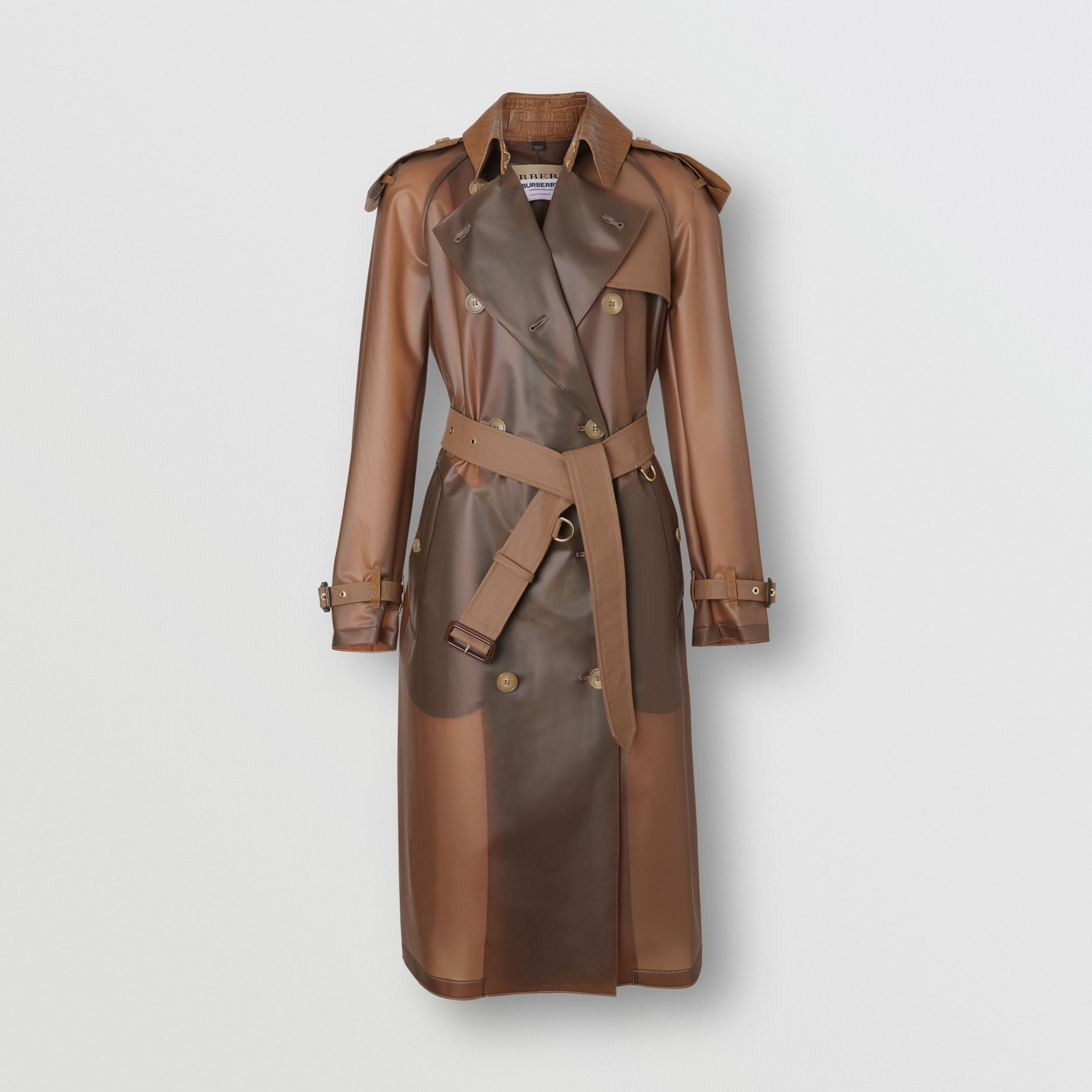 Leather Detail Showerproof Trench Coat in Flaxseed | Burberry - 4