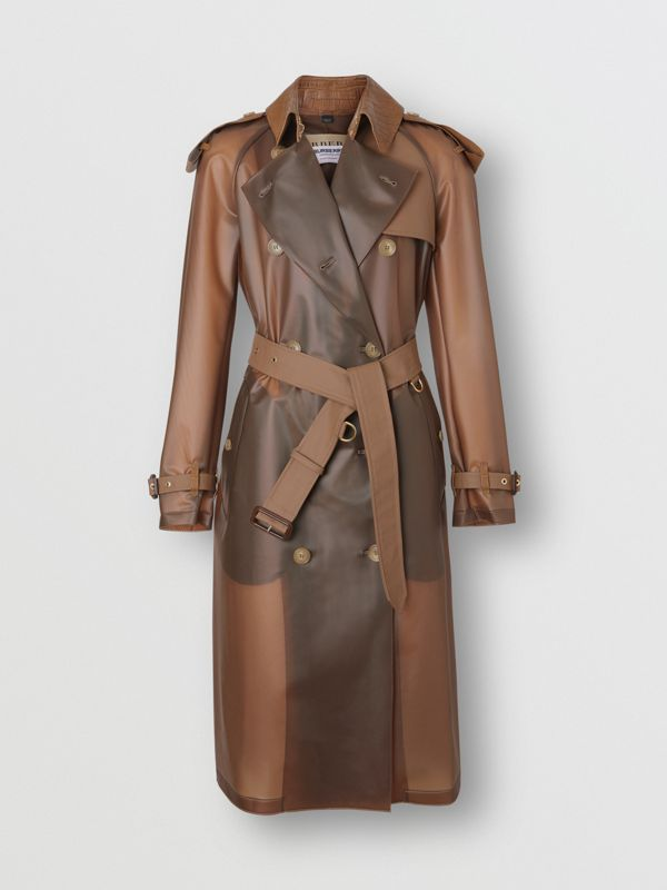 Leather Detail Showerproof Trench Coat in Flaxseed - Women | Burberry - cell image 3