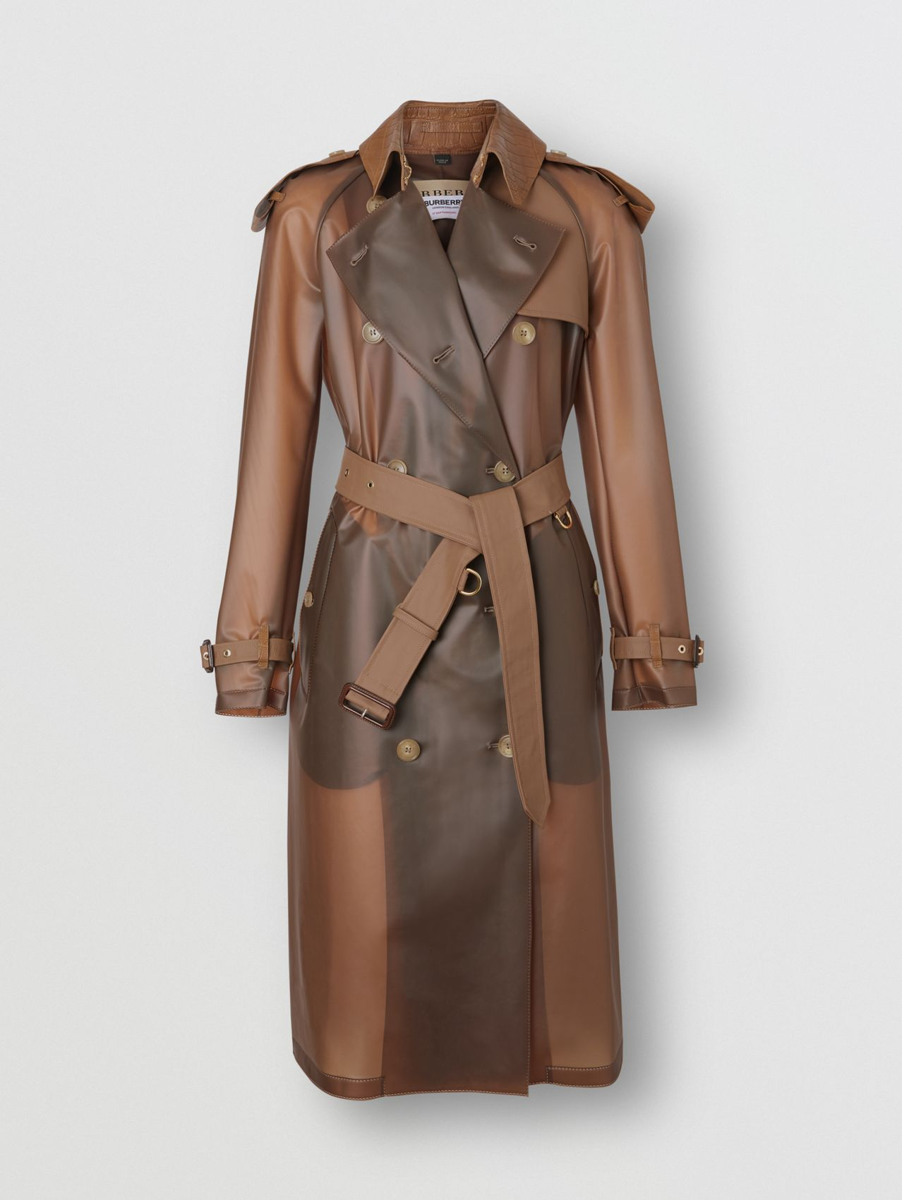 Leather Detail Showerproof Trench Coat in Flaxseed