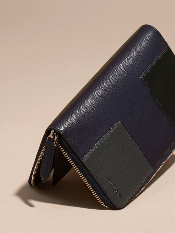 Dark navy Panelled London Leather Ziparound Wallet Dark Navy - cell image 2