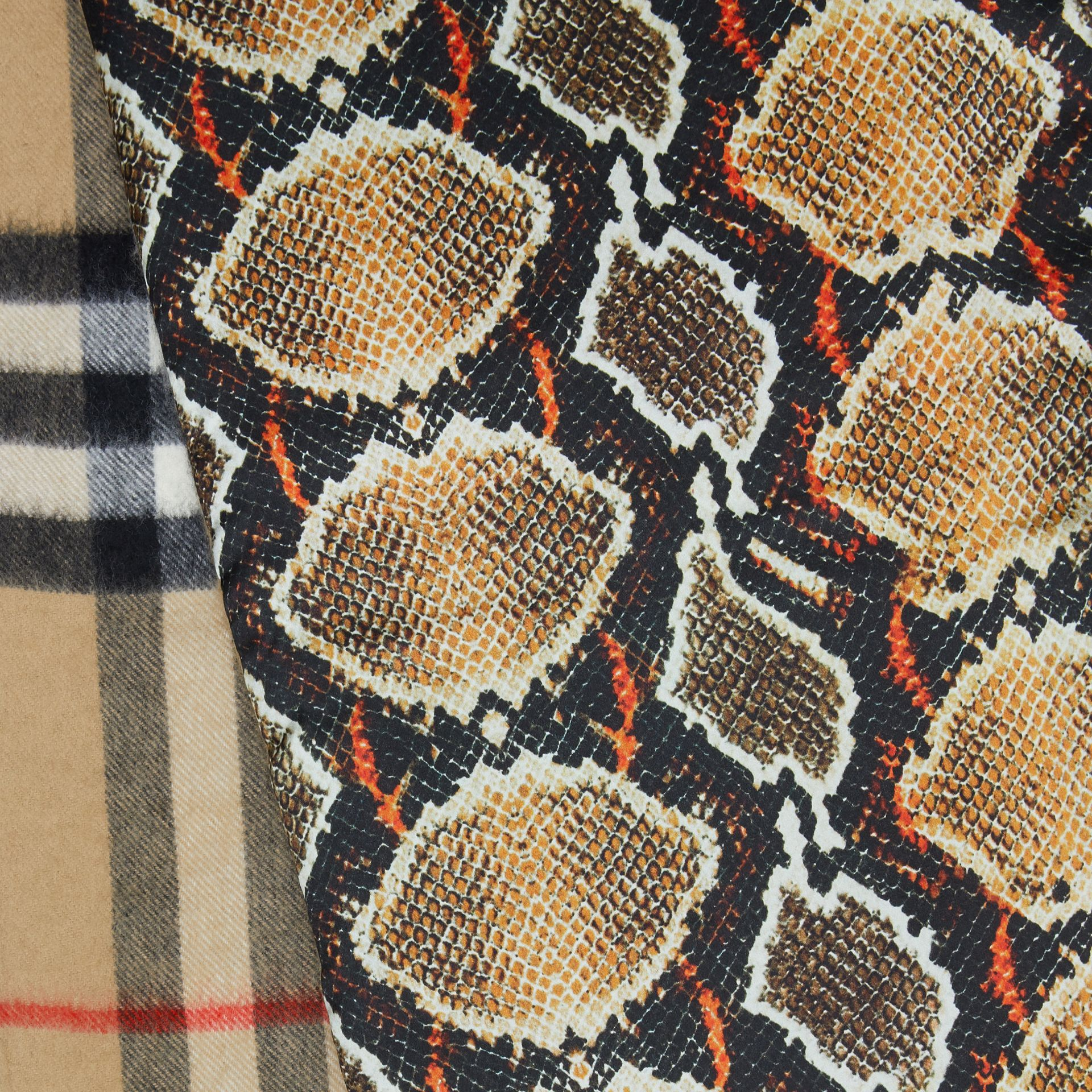 Check and Animal Print Cashmere Silk Puffer Scarf in Honey | Burberry Australia - gallery image 1