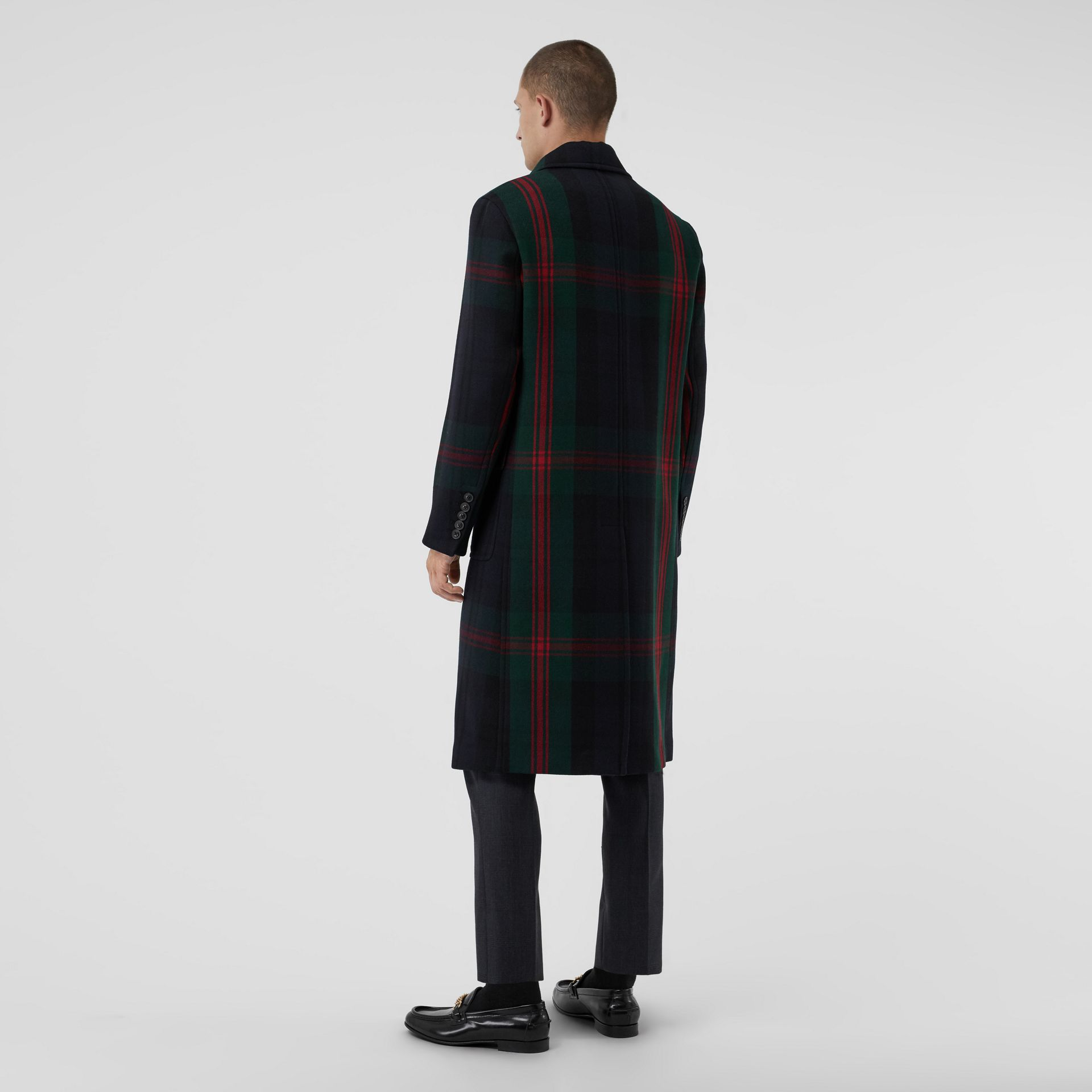 Tartan Wool Mohair Blend Tailored Coat in Navy Check - Men | Burberry Singapore - gallery image 2