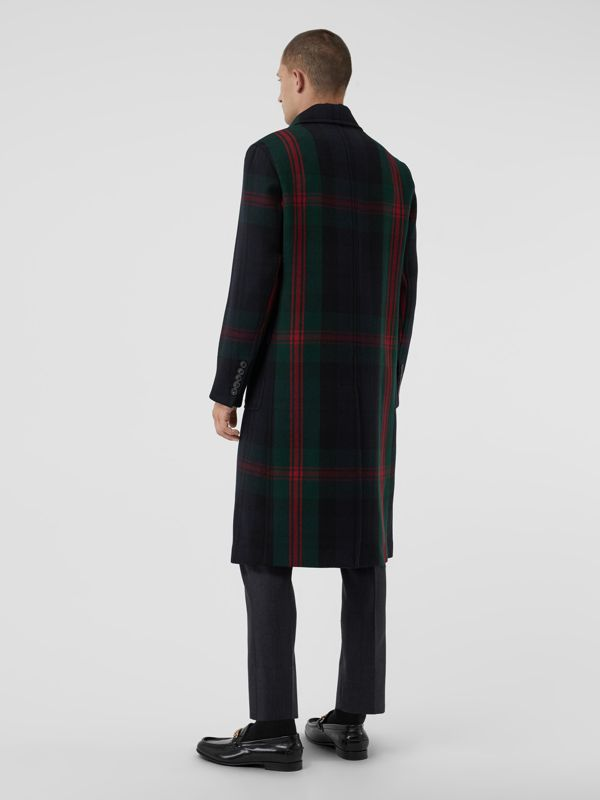 Tartan Wool Mohair Blend Tailored Coat in Navy Check - Men | Burberry - cell image 2
