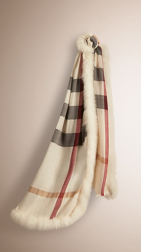 Ivory check Fur Trim Cashmere Check Scarf - Image 1