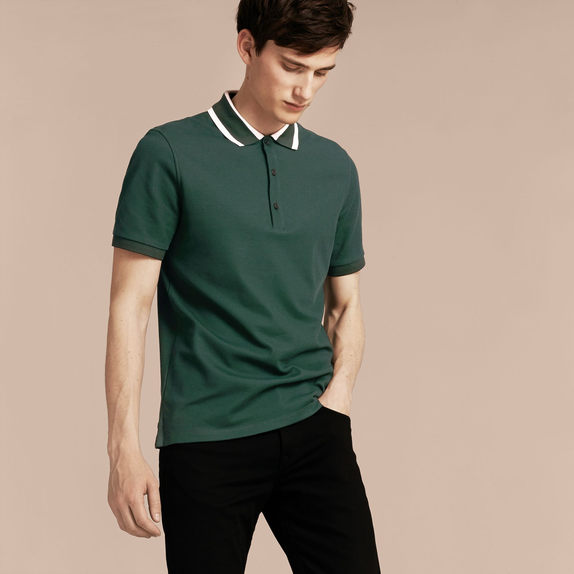 Racing green Striped Collar Cotton Piqué Polo Shirt Racing Green - gallery image 6
