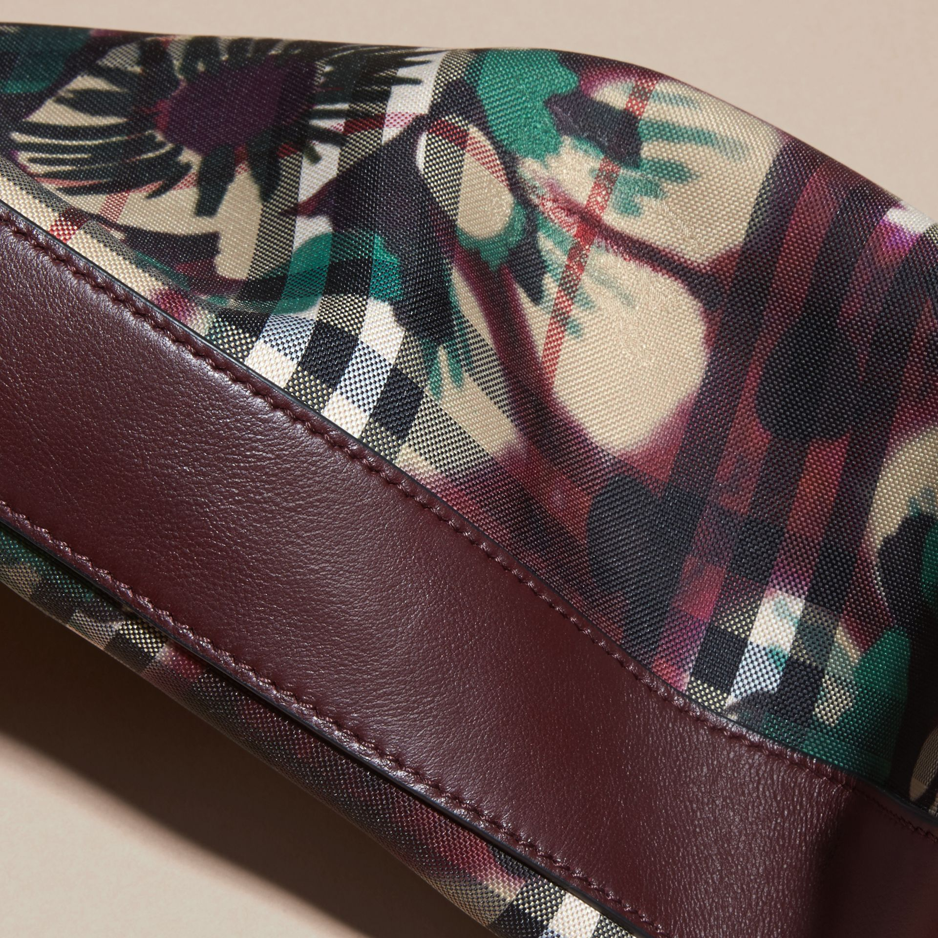 Deep claret Tie-dye Print Horseferry Check and Leather Clutch Bag Deep Claret - gallery image 2