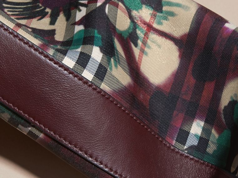 Deep claret Tie-dye Print Horseferry Check and Leather Clutch Bag Deep Claret - cell image 1