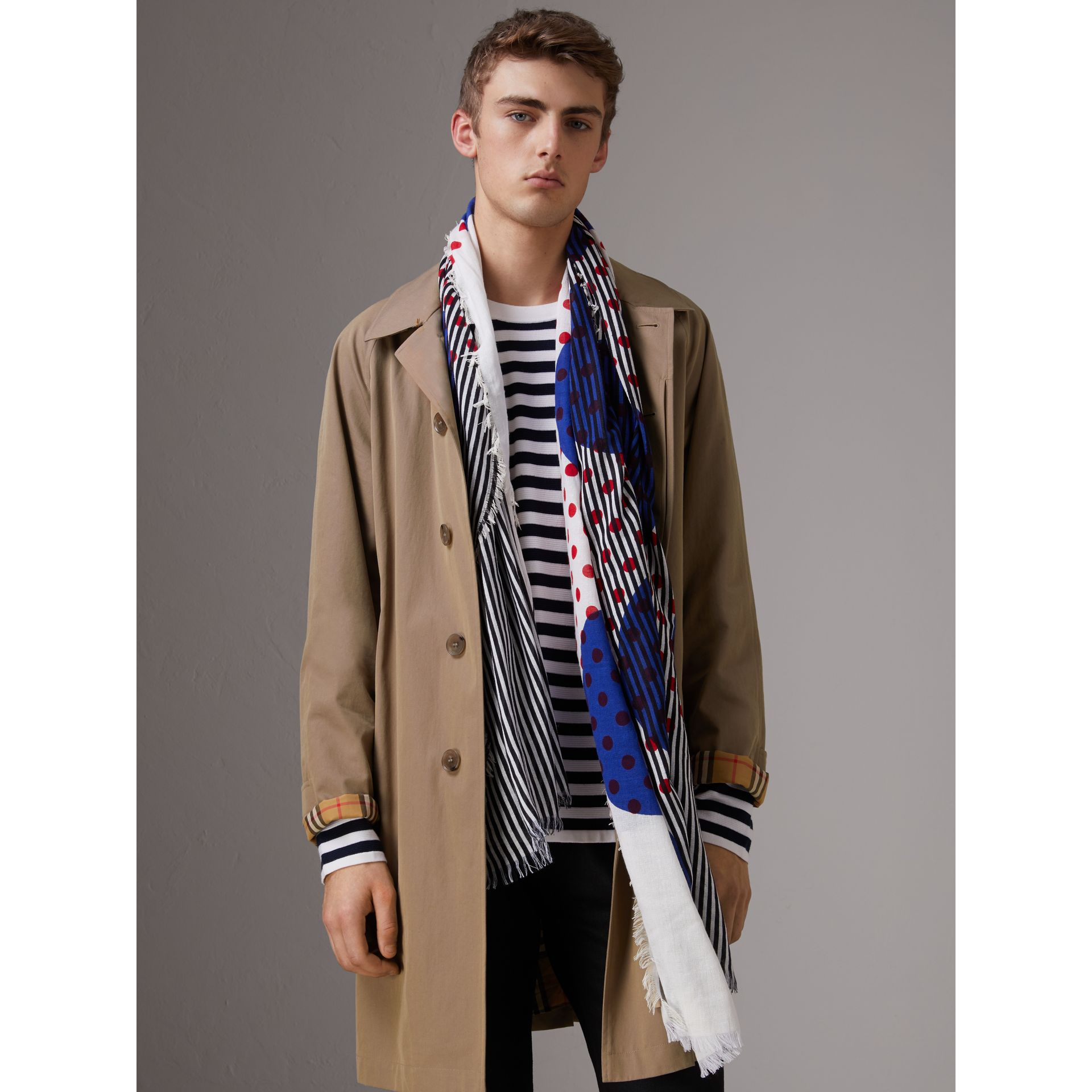 Graphic Spot and Stripe Print Silk Cotton Scarf in Bright Navy | Burberry United Kingdom - gallery image 3