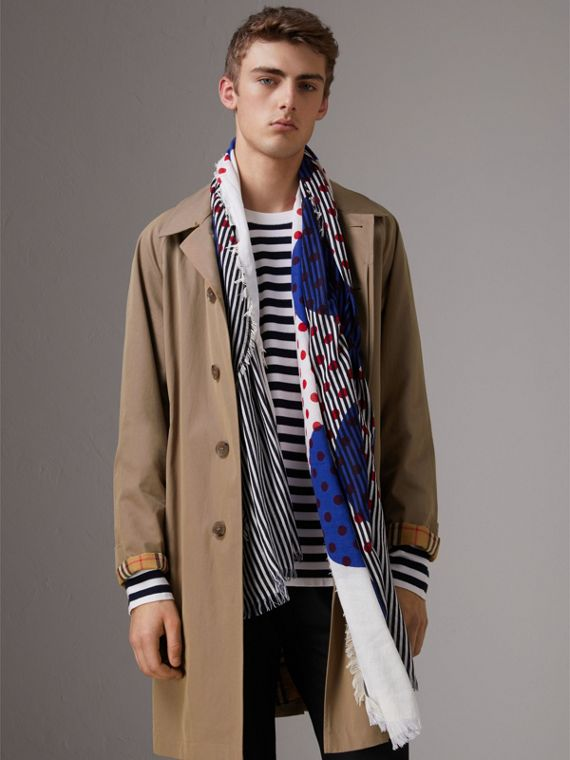Graphic Spot and Stripe Print Silk Cotton Scarf in Bright Navy | Burberry - cell image 3