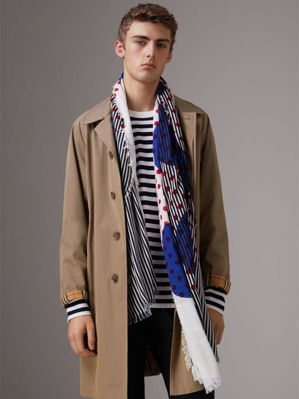 Graphic Spot and Stripe Print Silk Cotton Scarf in Bright Navy | Burberry Australia - cell image 3