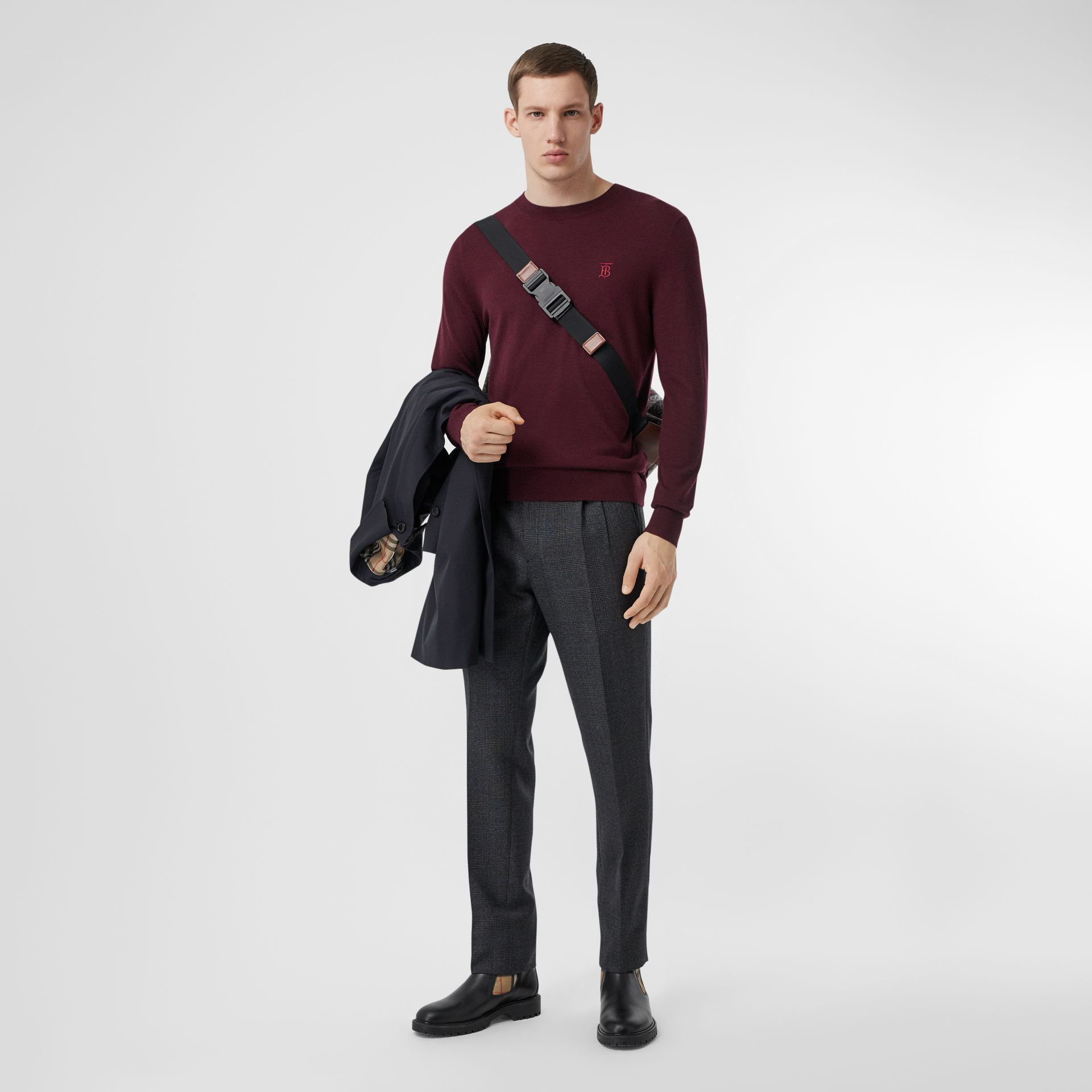 Monogram Motif Cashmere Sweater in Burgundy - Men | Burberry - gallery image 0